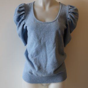 C0 BLUE SILVER SPARKLE PUFF SLEEVE SWEATER XL *